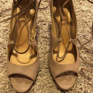 Schutz suede nude lace up heels.